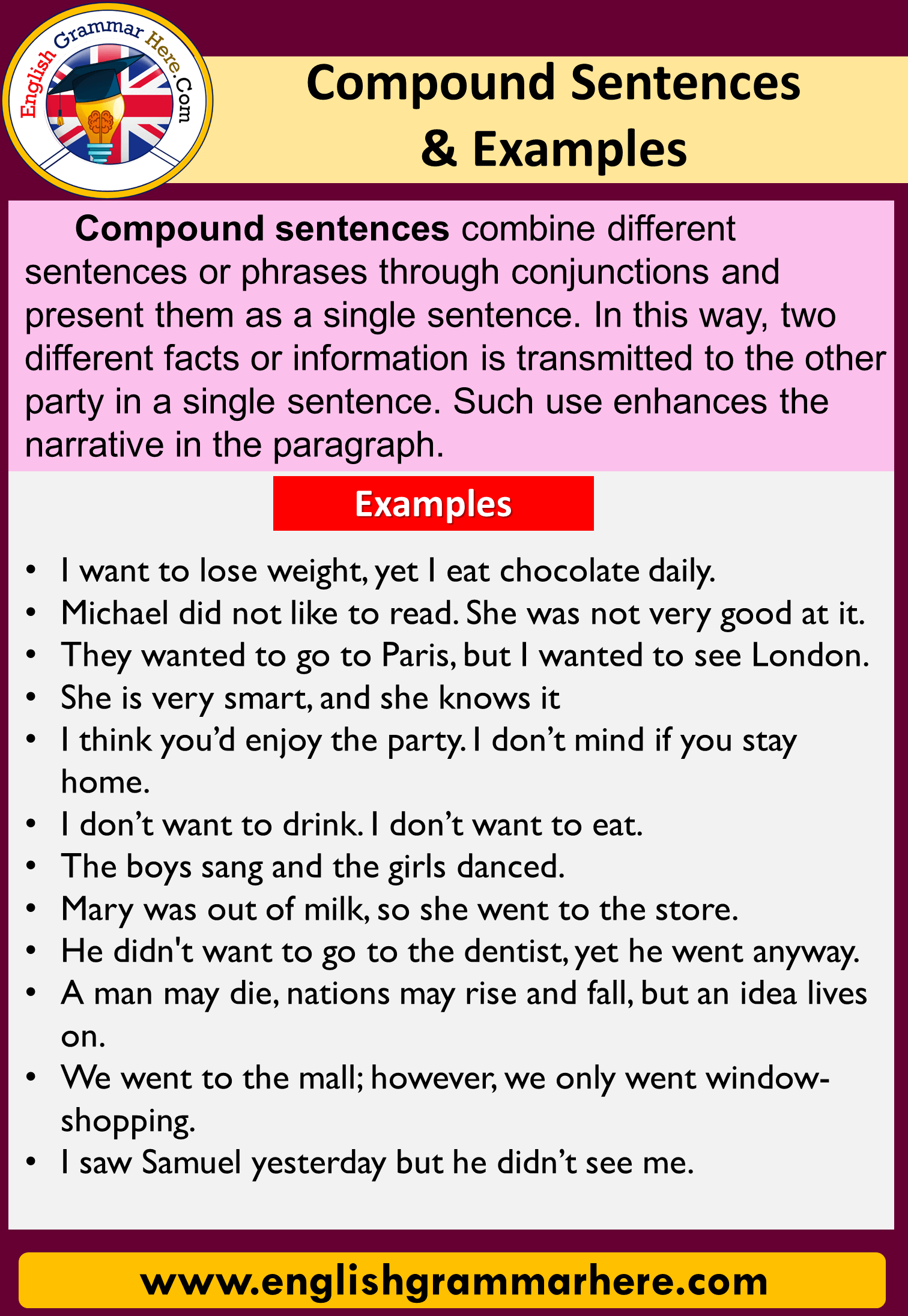 English Compound Sentences and Examples