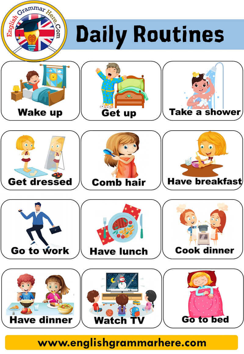 Daily Routines and Activities List and Example Sentences;