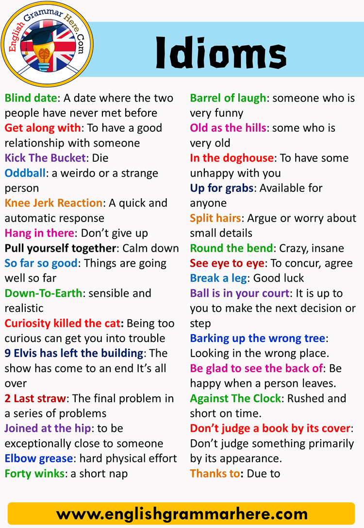 English Idiomatic Expressions and Examples, 10 idioms and their meanings with sentences