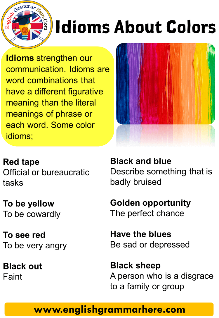 Idioms About Colors, List of Color Idioms