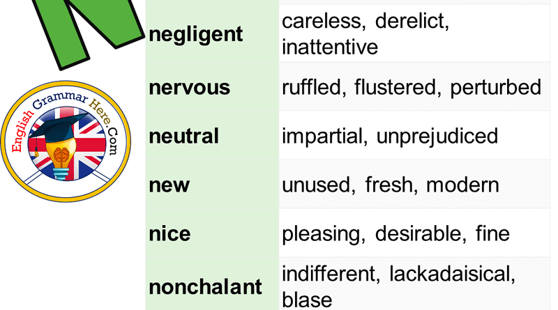 Synonym Words Start With N in English
