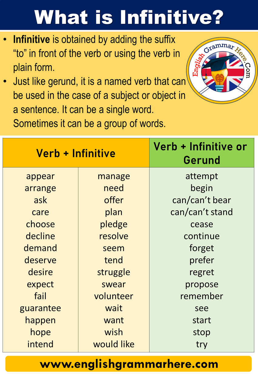 What is Infinitive? Definitions, Examples and Verb + Infinitive List