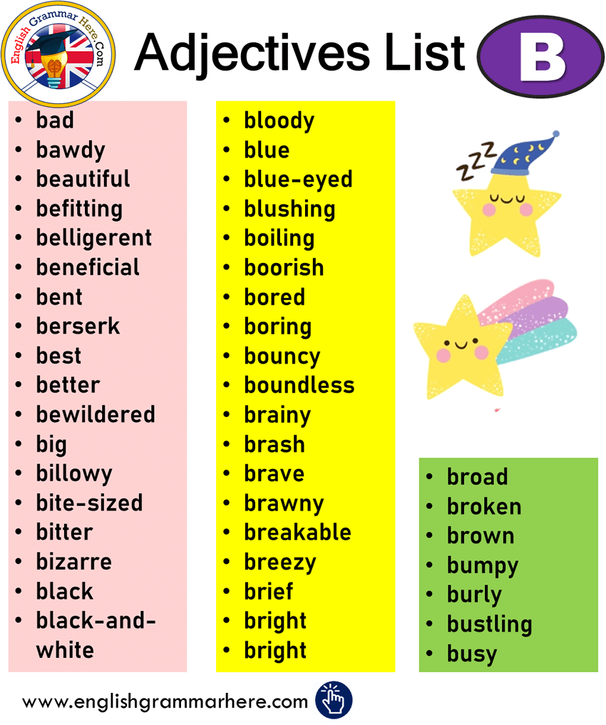 English Detailed Adjectives List, adjectives that start with b;