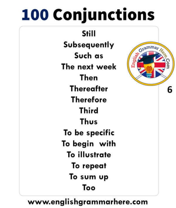 English detailed Conjunctions list, example sentences and meanings. 100 Conjunctions List in English;