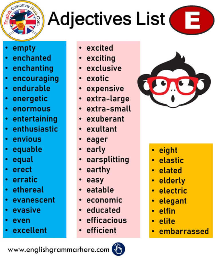 English Common Adjective List, Adjectives That Start With E, Adjectives List
