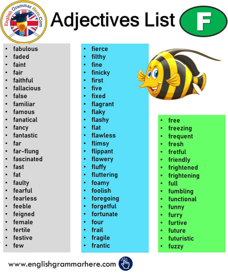 English Adjectives That Start With F, Adjectives List