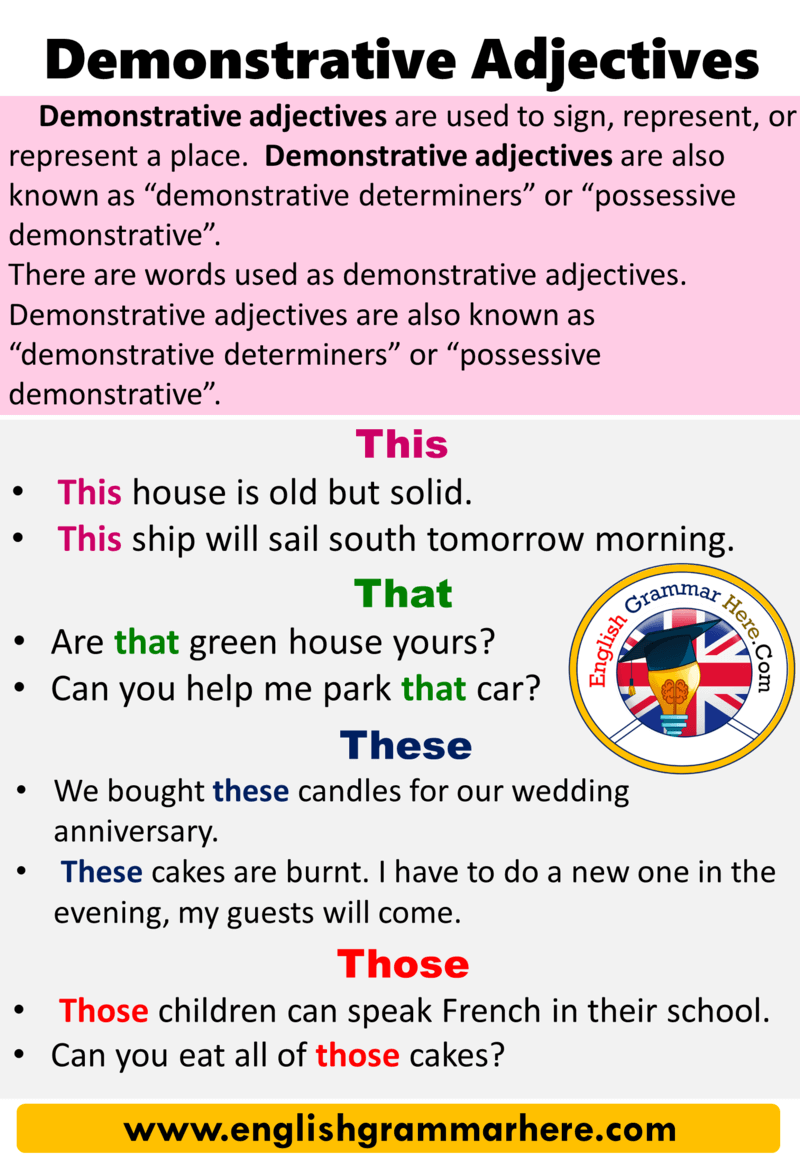 English Using Demonstrative Adjectives, Definition and Example Sentences;