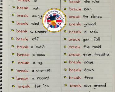 English Collocations List with Break, English Phrases;