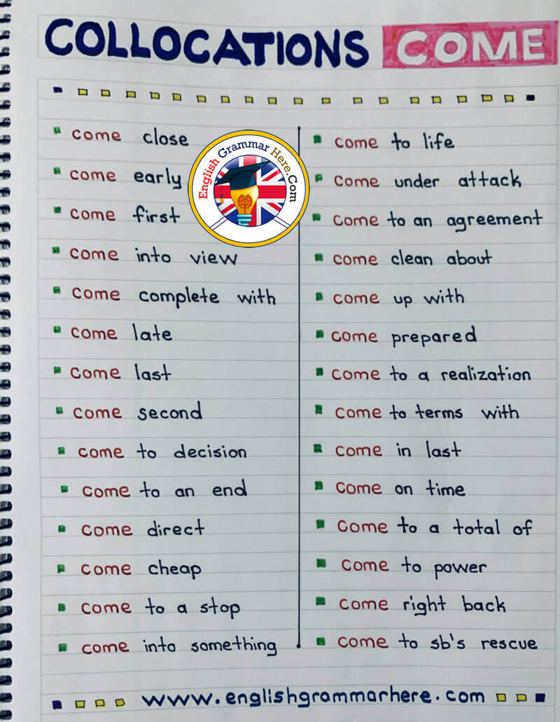 Collocations with COME - English Phrases