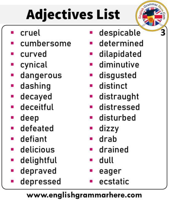 English List of Adjectives, +300 Adjectives List