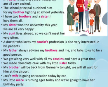 40 Sentences About My Family in English, Example Sentences