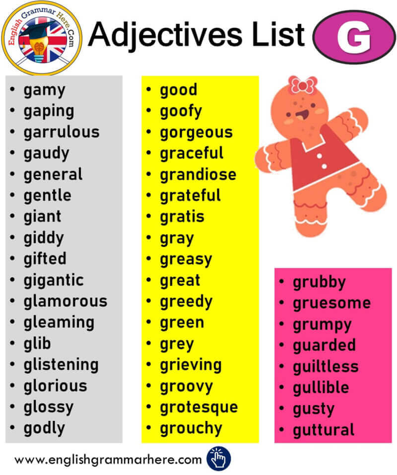 English Adjectives That Start With G, Adjectives List