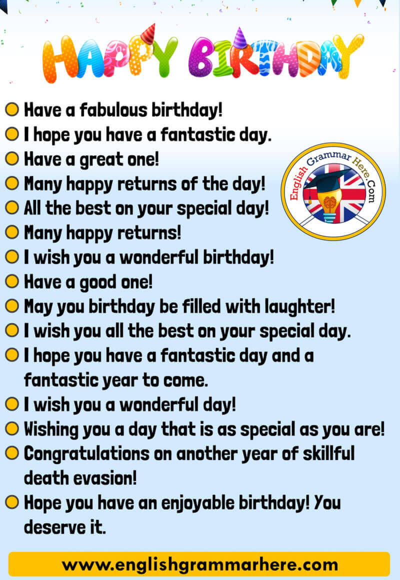 Happy Birthday Messages Happy Birthday Wishes English Grammar Here