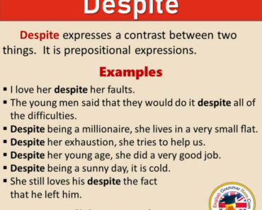 How To Use DESPITE in English, Definition and Example Sentences
