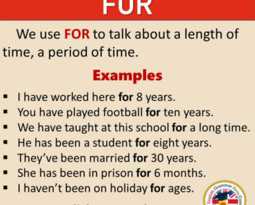 How To Use FOR in English, Definition and Example Sentences