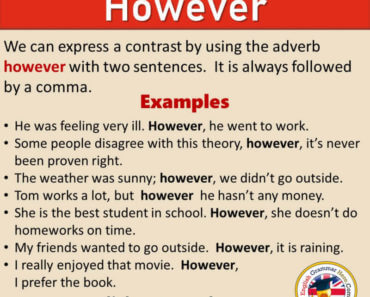 How To Use HOWEVER in English, Definition and Example Sentences