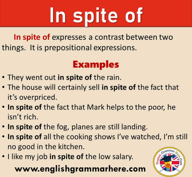 How To Use In Spite Of in English, Definition and Example Sentences