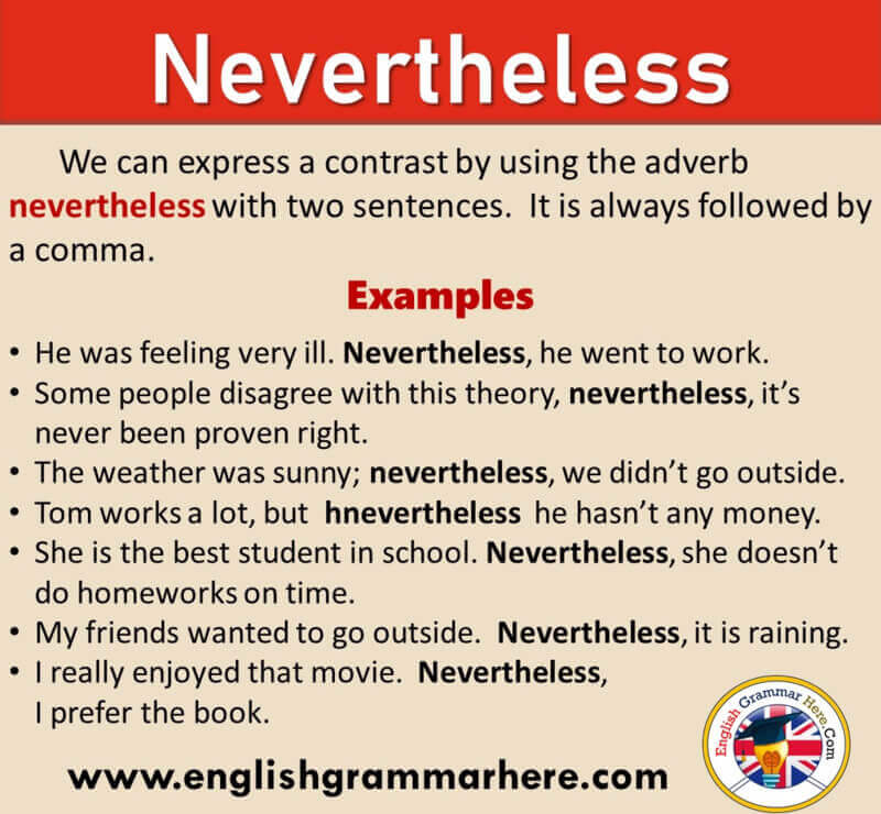 How To Use NEVERTHELESS in English, Definition and Example Sentences
