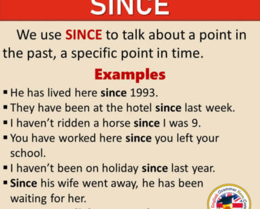 How To Use SINCE in English, Definition and Example Sentences