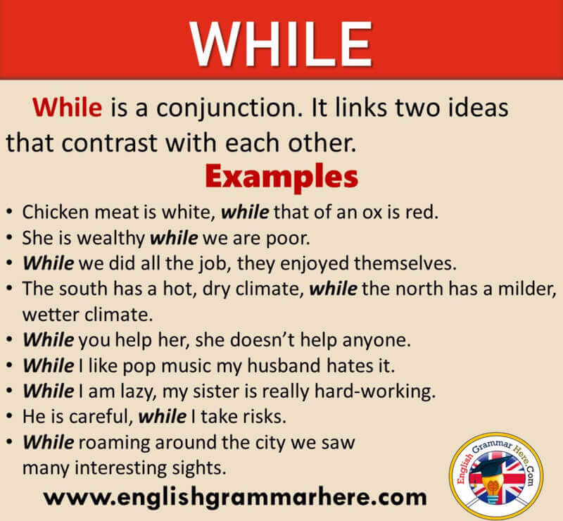 How To Use WHILE in English, Definition and Example Sentences