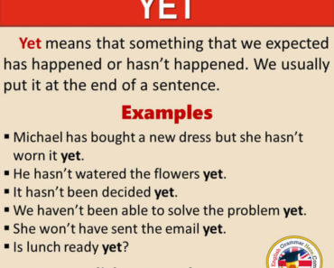How To Use YET in English, Definition and Example Sentences