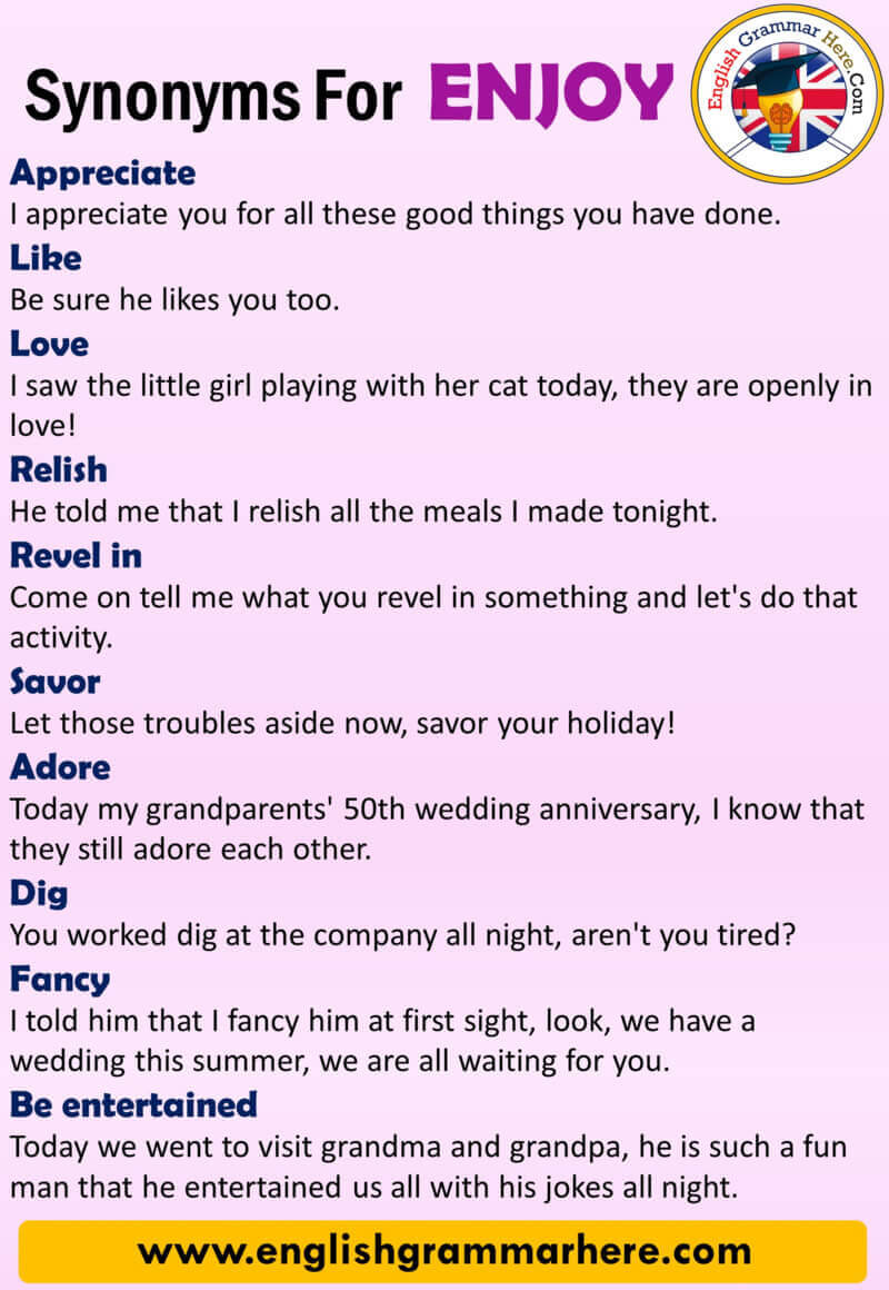 English Synonyms ENJOY, Definition and Examples, Another Words for Enjoy