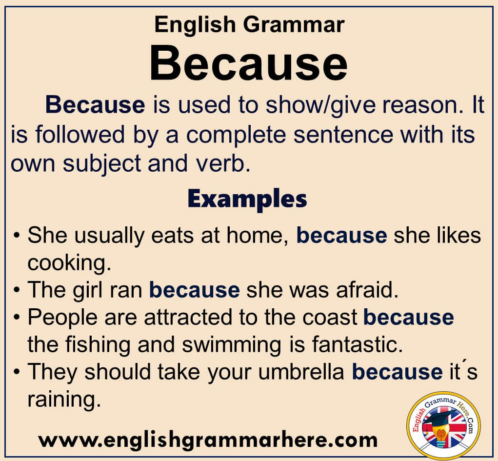 English Grammar - Using Because, Definiton and Example Sentences