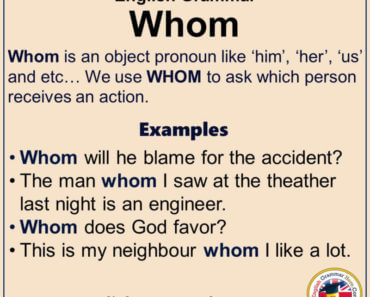 English Grammar - Using Whom, Definiton and Example Sentences