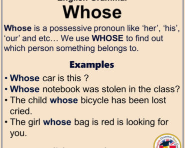 English Grammar - Using Whose, Definiton and Example Sentences
