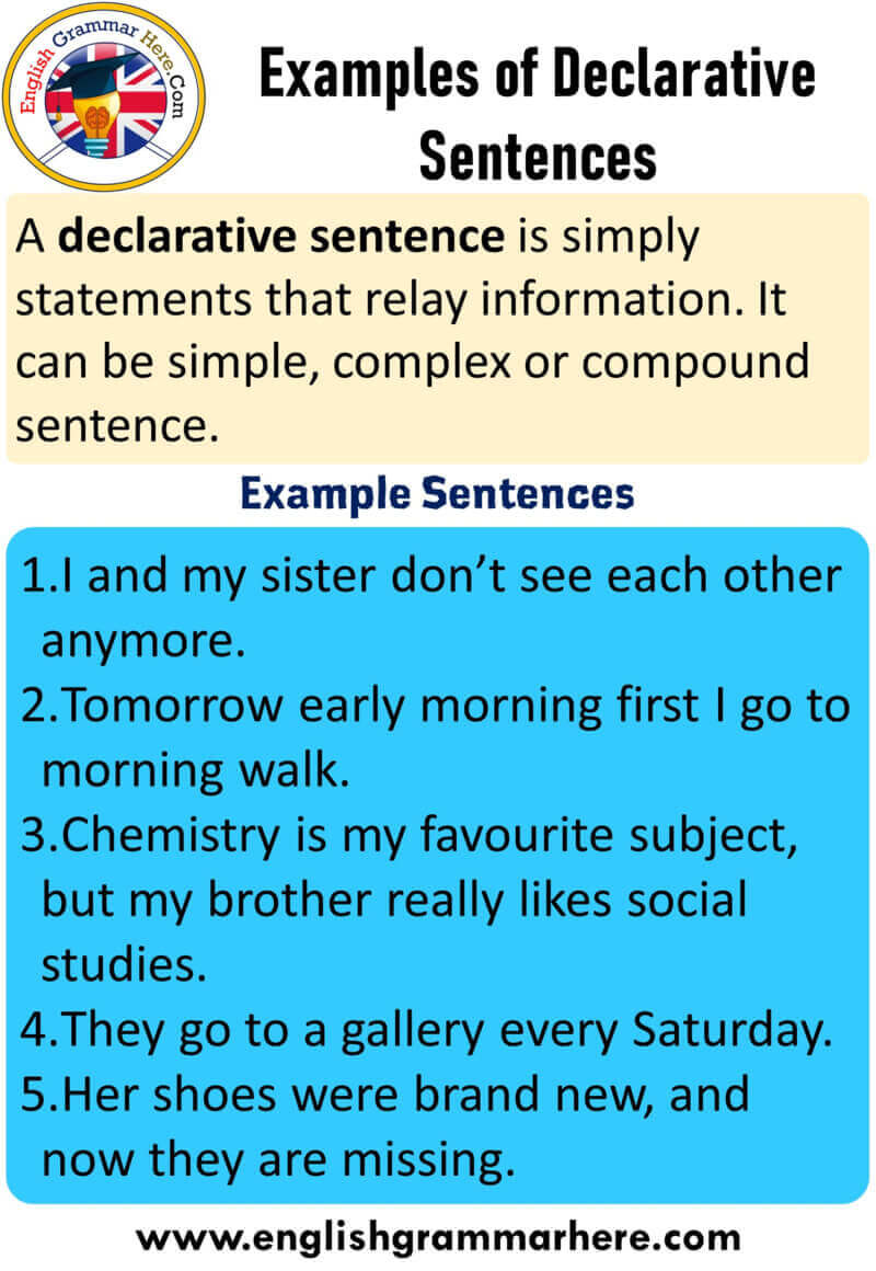5 example of declarative sentence