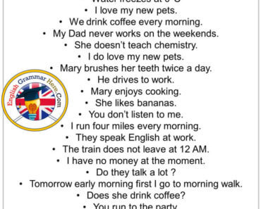 English Exampe Sentences, 50 examples of simple sentences