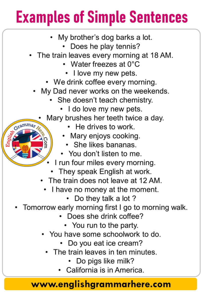 50 Examples Of Simple Sentences