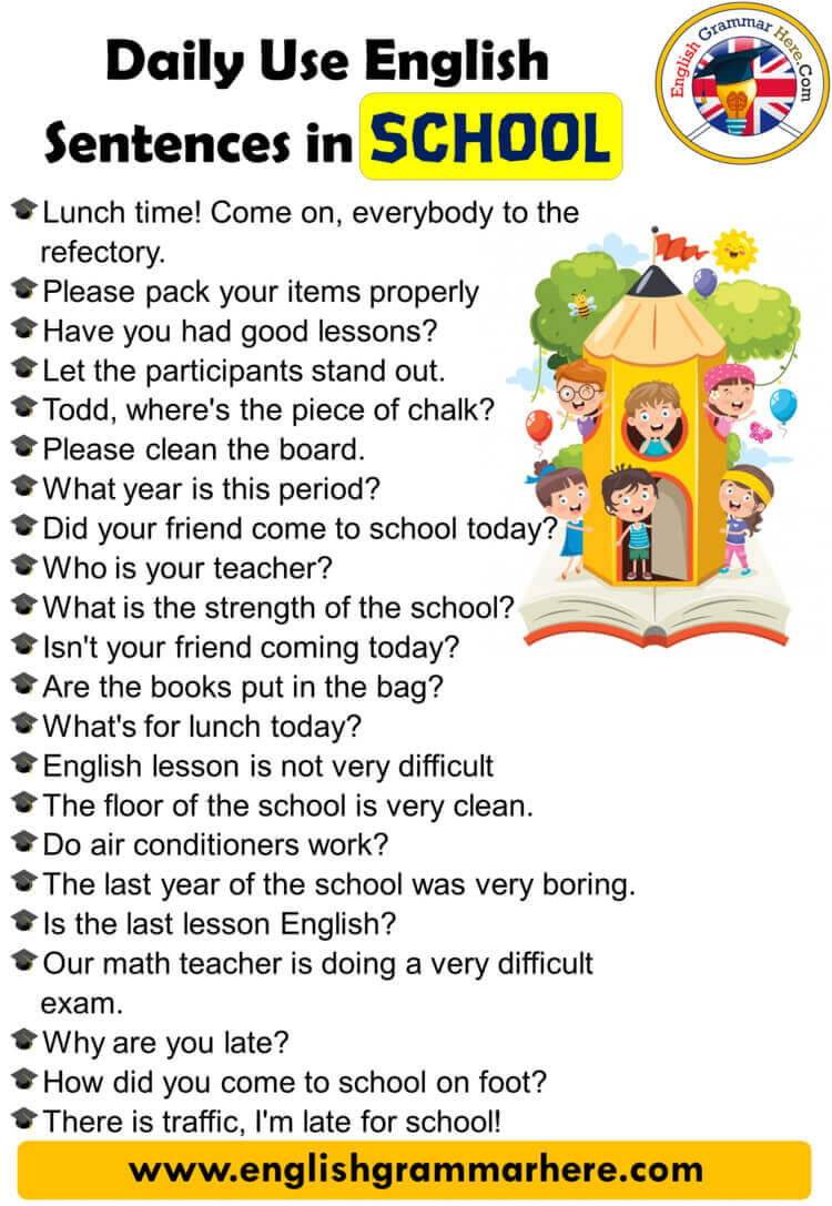 English Speaking Phrases, Daily Use English Sentences in School