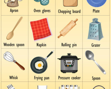 English Kitchen Vocabulary Words With Pictures, Examples