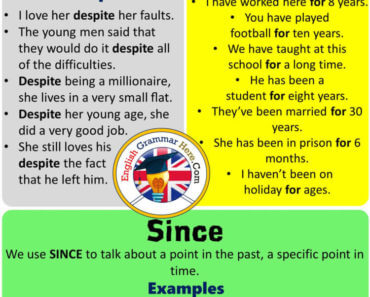 English Using Despite, For and Since