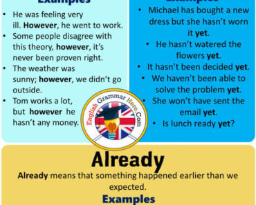How to use English Using However, Yet and Already