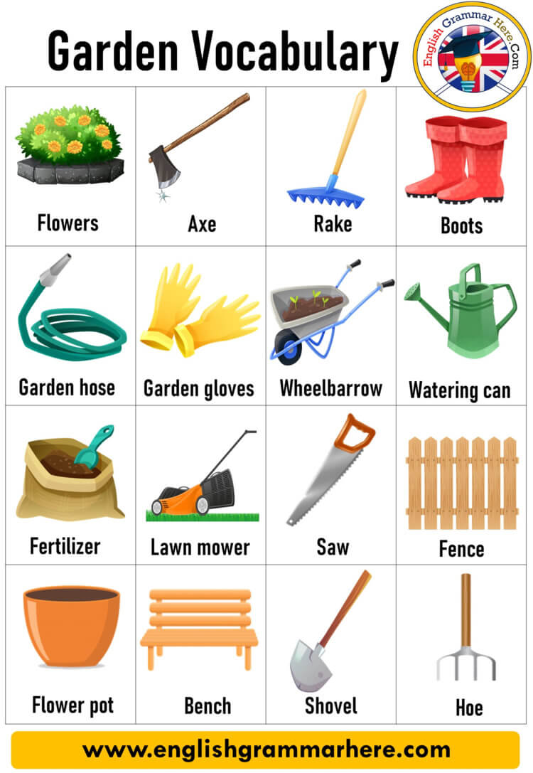 English Garden Vocabulary, Gardening Tools Names With Pictures