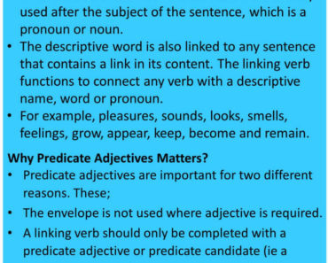 Predicate Adjective, Definition and Examples