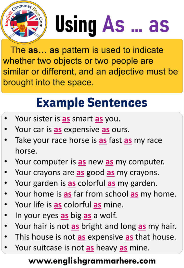 English How to use as ... as, Using As ... as in English, Example Sentences with As ... as