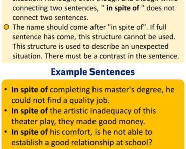 English How to use In spite of, Using In Spite Of in English, Example Sentences with In Spite Of
