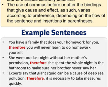 How to use Therefore, Using Therefore in English, Example Sentences with Therefore