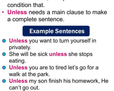 How to use unless, use of unless, Using Unless in English, Unless in a Sentence