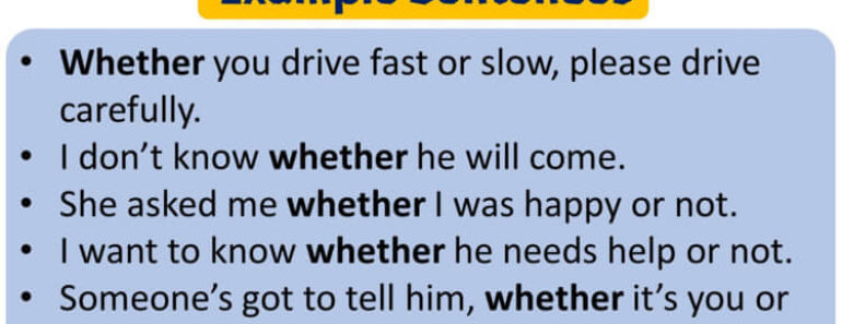 Using Whether in English, Whether in a Sentence