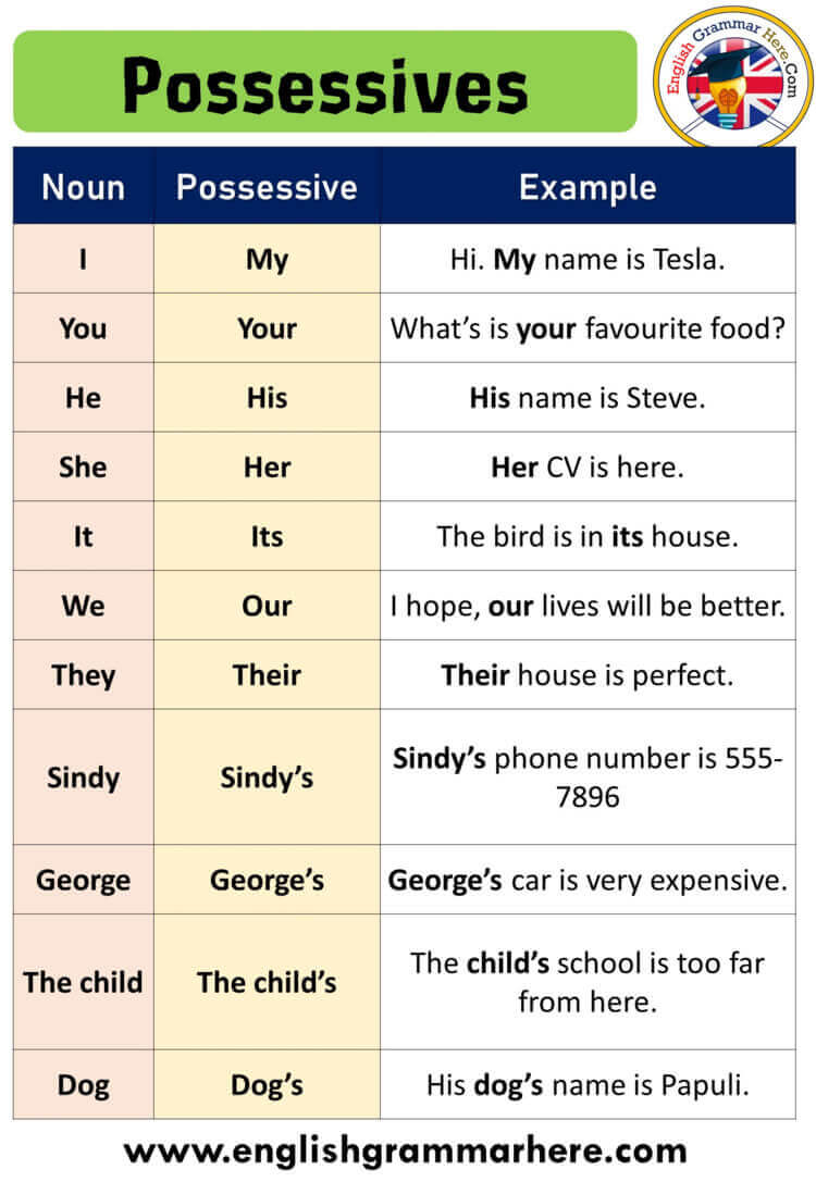 English Using Possessive Pronoun, Definition and Examples