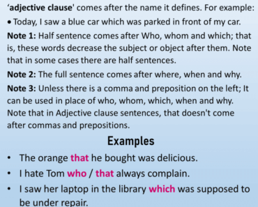 English Using Adjective Clauses, Definition and Example Sentences;