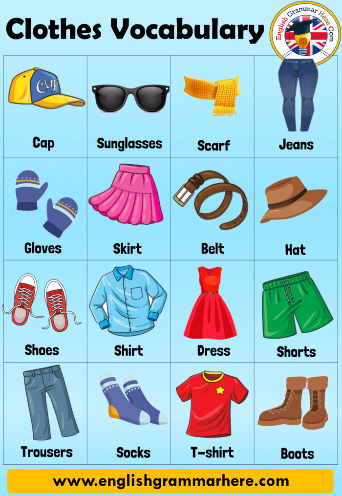 Clothes Names, Clothes Vocabulary in English and Example Sentences