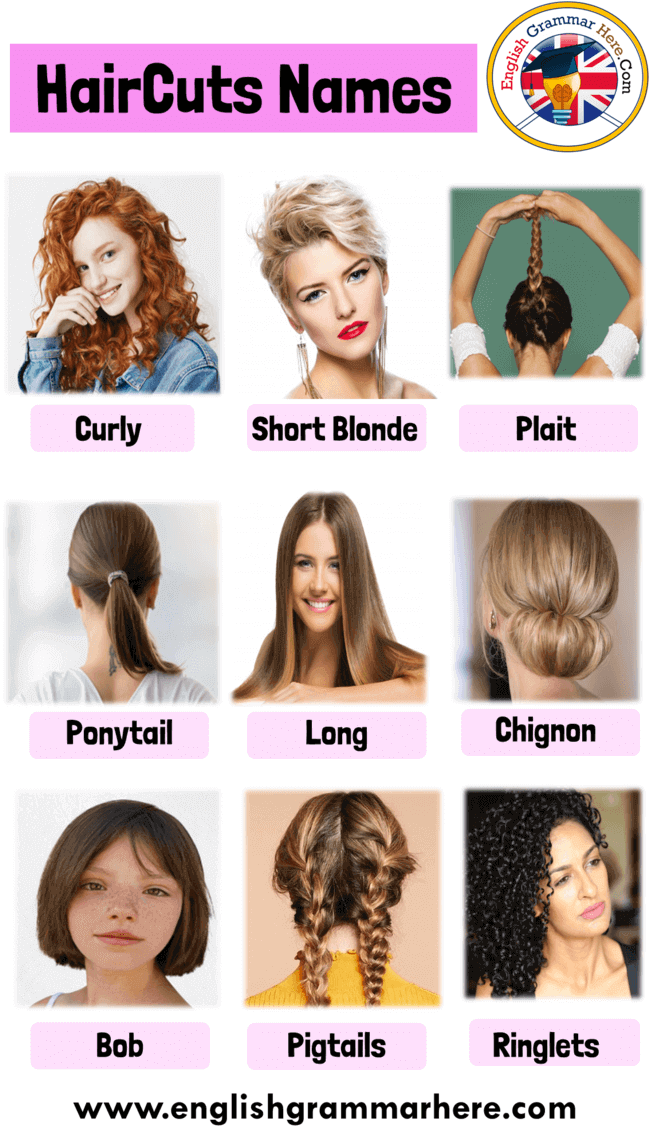Haircut Names With Pictures For Ladies Hairstyle Names For Girls Women English Grammar Here