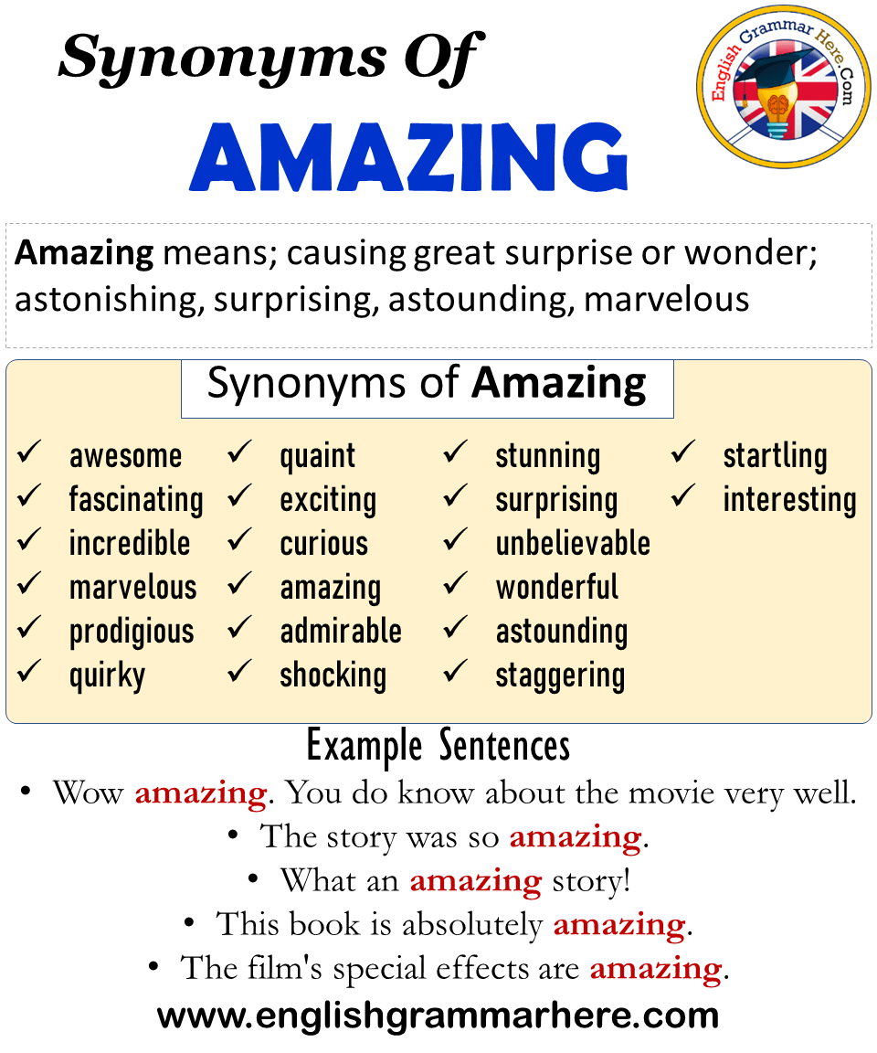 20 Synonyms Of Amazing, Amazing Synonyms Words List, Meaning and ...