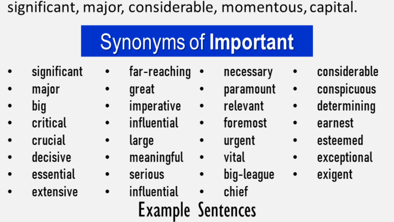 Another word for Important, What is another, synonym word for ...