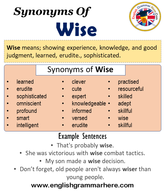Synonyms Of Wise, Wise Synonyms Words List, Meaning and